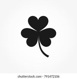 Black clover leaf icon. Vector illustration