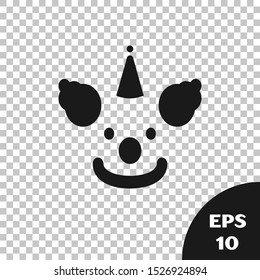 Black Clown head icon isolated on transparent background.  Vector Illustration