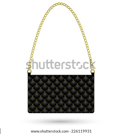 def528ea Black Clutch Bag Gold Women Isolated Stock Vector (Royalty Free ...