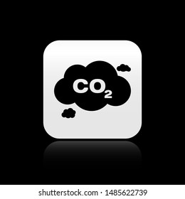 Black CO2 emissions in cloud icon isolated on black background. Carbon dioxide formula symbol, smog pollution concept, environment concept. Silver square button. Vector Illustration