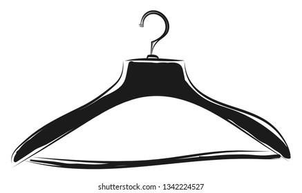 Black coat hanger sketch illustration color vector on white background