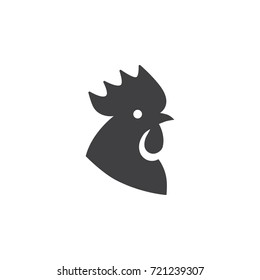 Black cock head icon on a white background.