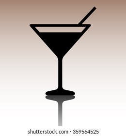 Black Cocktail icon. Vector illustration with reflection