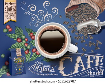 Black coffee ads with top view of 3d illustration beverage on retro engraving beans and plants elements
