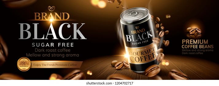 Black coffee banner ads with roasted coffee beans on wooden table in 3d illustration