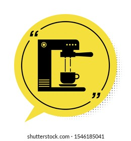 Black Coffee machine and coffee cup icon isolated on white background. Yellow speech bubble symbol. Vector Illustration