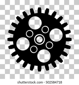 Black Cogwheel toolbar icon. Vector pictogram style is a flat symbol on chess transparent background.