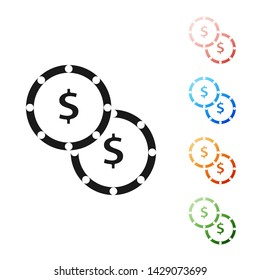Black Coin money with dollar symbol icon isolated on white background. Banking currency sign. Cash symbol. Set icons colorful. Vector Illustration