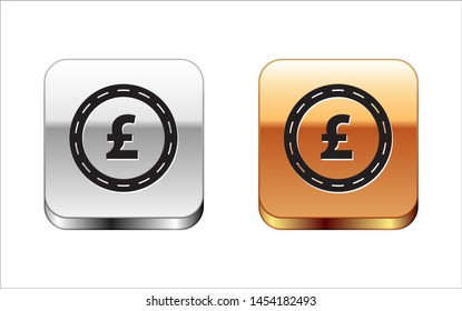 Black Coin money with pound sterling symbol icon isolated on white background. Banking currency sign. Cash symbol. Silver-gold square button. Vector Illustration