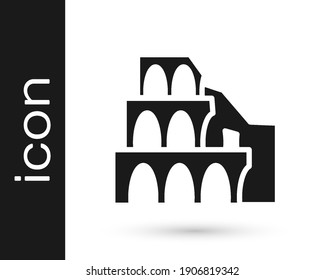 Black Coliseum in Rome, Italy icon isolated on white background. Colosseum sign. Symbol of Ancient Rome, gladiator fights.  Vector