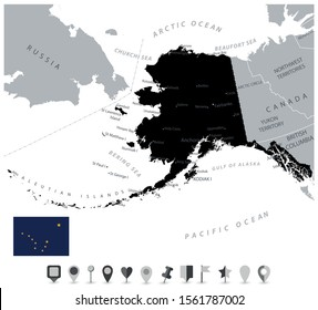 Black Color Alaska Map and Flat Map Icons. US State Alaska Map with national borders, important cities.