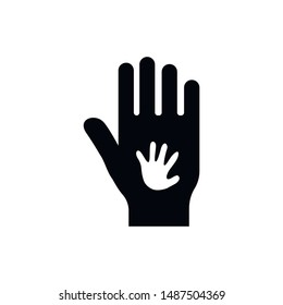 Black color big hand and white small hand vector concept. Help symbol hands vector support emblem. Education, health care, medical, design element.