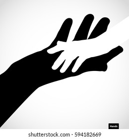 Black color big hand and white small hand vector concept. Help symbol hands vector support emblem. Vector hands icon illustration. Education, health care, medical, design element.
