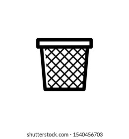 black color bin bucket recycle icon in flat style isolated. Vector Symbol illustration.