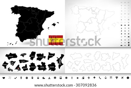 Map Of Spain To Color.Black Color Blind Map Spain Pictogram Stock Vector Royalty Free