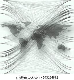 Black color dotted world map with abstract waves and lines on white background. Motion design. Gray chaotic, random, messy curves, swirl. Vector decoration.
