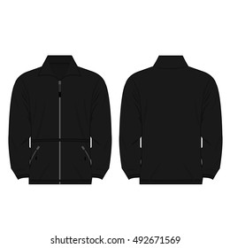 black color fleece outdoor jacket isolated vector on the white background