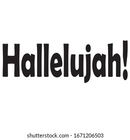 black color font on a white background vector, hallelujah