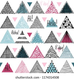 Black and color hand-drawn triangles doodle on white background. Seamless vector geometric pattern. Vector abstract background. Pattern hipster abstract Abstract ethnic seamless pattern.