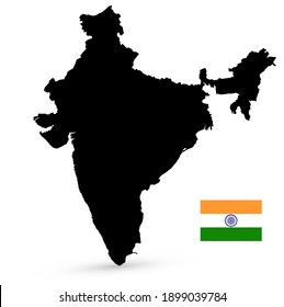 Black color India map and flag on white background. Vector illustration.