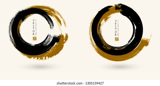 Black and color ink round stroke on white background. Japanese style. Vector illustration of grunge circle stains