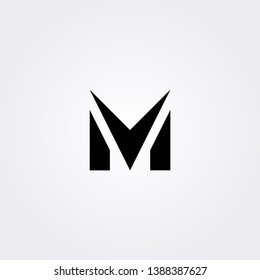Black color of M letter logo. Initial logo concept vector.