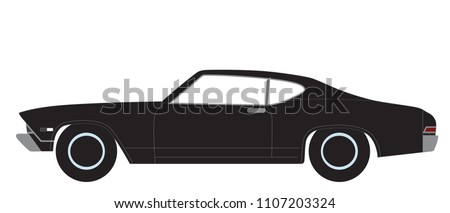 Black Color Muscle Car Transparent Background Stock Vector Royalty
