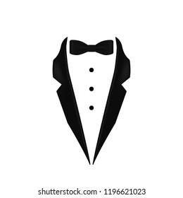 black colored bow tie dinner jacket collar icon. Element of evening menswear illustration