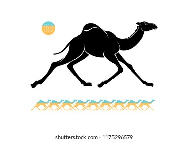 Black and colored graphic silhouette of a running arabic camel, wild dromedary. Vector illustration for tourism and travel around Egypt, isolated on background.