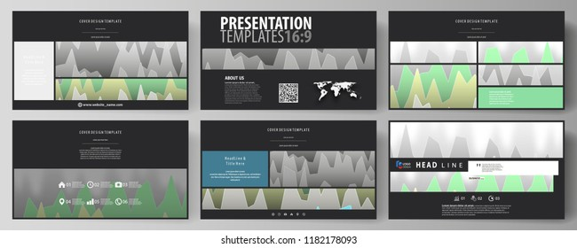 The black colored minimalistic vector illustration of the editable layout of high definition presentation slides design templates. Rows of colored diagram with peaks of different height.