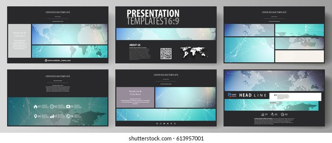 The black colored minimalistic vector illustration of the editable layout of high definition presentation slides design templates. Molecule structure, connecting lines and dots. Technology concept