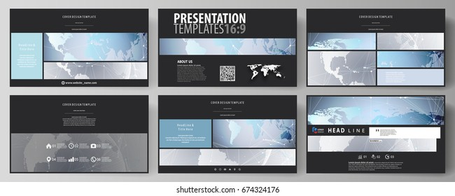 The black colored minimalistic vector illustration of the editable layout of high definition presentation slides design templates. Technology concept. Molecule structure, connecting background.