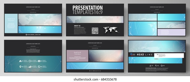 The black colored minimalistic vector illustration of the editable layout of high definition presentation slides design templates. Molecule structure. Science, technology concept. Polygonal design.
