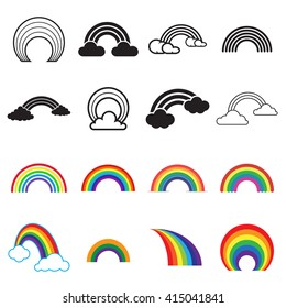 Black and colored rainbow icons. 16 different rainbow symbols isolated on a white background. Vector illustration