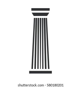 Black column pillar icon isolated on white background. Vector illustration for flat architecture design. Building ancient monument symbol icon. Pillar parthenon landmark. Pillar sign.