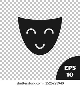 Black Comedy theatrical mask icon isolated on transparent background.  Vector Illustration