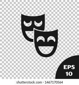 Black Comedy theatrical masks icon isolated on transparent background.  Vector Illustration