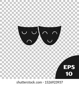 Black Comedy and tragedy theatrical masks icon isolated on transparent background.  Vector Illustration