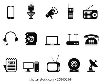 black communication device icons set