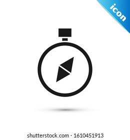 Black Compass icon isolated on white background. Windrose navigation symbol. Wind rose sign.  Vector Illustration