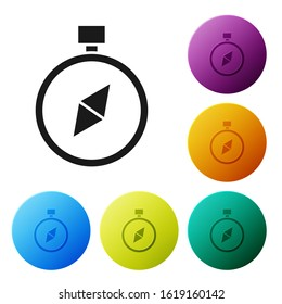 Black Compass icon isolated on white background. Windrose navigation symbol. Wind rose sign. Set icons colorful circle buttons. Vector Illustration