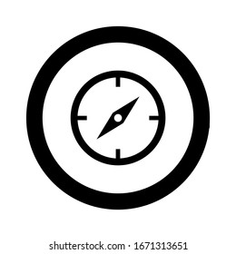 black compass icon isolated on white