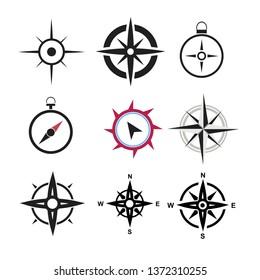 black compass icons set on white background