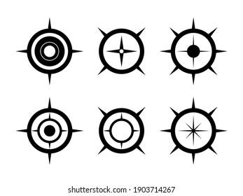 Black compass illustration symbol set. North arrow for mapping.