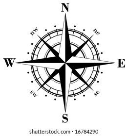 Black compass rose - vector