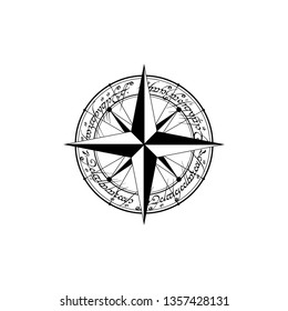 Black compass silhouette with sample arabic text isolated on white background