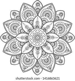 Black complex doodle mandala on a transparent background, for printable coloring