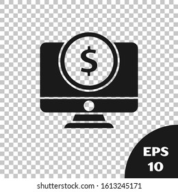 Black Computer monitor with dollar symbol icon isolated on transparent background. Online shopping concept. Earnings in the Internet, marketing.  Vector Illustration
