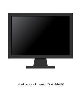 Black computer monitor flat design