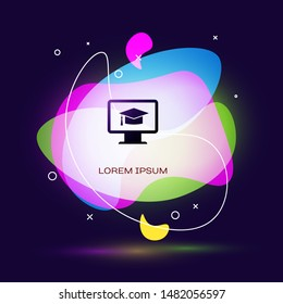 Black Computer monitor with graduation cap icon on dark blue background. Online learning or e-learning concept. Internet knowledge symbol. Abstract banner with liquid shapes. Vector Illustrat